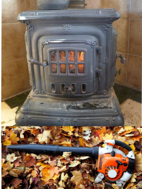 Cast Iron Pipe Stove w Leaf Blower